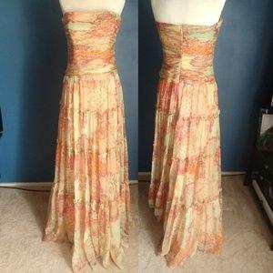 David Meister Pastel Strapless Long Summer Dress